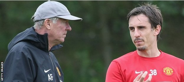Gary Neville won 20 trophies, including eight Premier League titles, under Sir Alex Ferguson at Manchester United