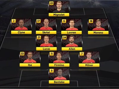 Liverpool's starting line-up vs Newcastle