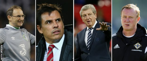 Martin O'Neill, Chris Coleman, Roy Hodgson and Michael O'Neil
