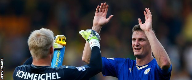 Leicester duo Kasper Schmeichel and Robert Huth